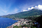 downtown stock photography | Martinique, Saint-Pierre, View of town with Mt. Pel�e, image id 9-70-15