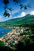 lookout stock photography | Martinique, Saint-Pierre, View of town with Mt. Pel�e, image id 9-70-33