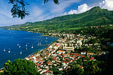 downtown stock photography | Martinique, Saint-Pierre, View of town with Mt. Pel�e, image id 9-70-38
