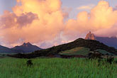 morning fog on hills stock photography | Mauritius, Morning light on Pieter Both peak, image id 9-200-7