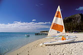 sailboat stock photography | Mauritius, Sailboat on beach, image id 9-203-88