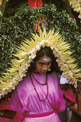 image 9-221-1 Mauritius, Cavadee Festival, Devotee carrying a wooden cavadee