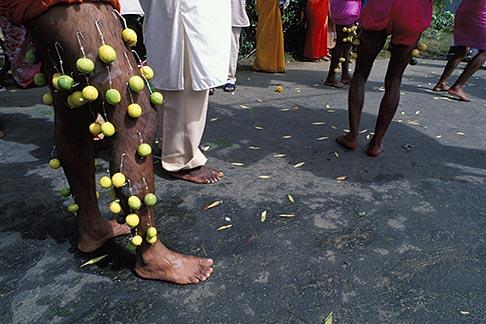 image 9-221-8 Mauritius, Cavadee Festival, Street scene, feet