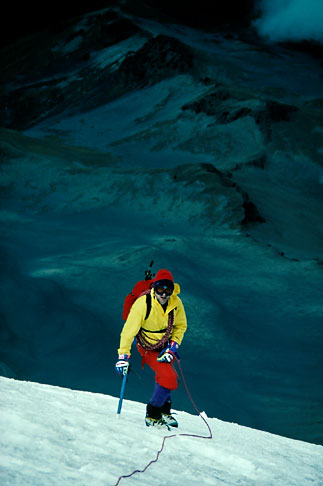 image 1-6-20 Adventure travel, Mountain Climbing, Mexico, roped climber on glacier ice on Popocatepetl volcano