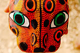 peninsula stock photography | Mexico, Riviera Maya, Carved jaguar mask, image id 4-850-2805