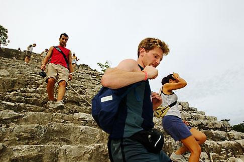 image 4-850-2864 Mexico, Yucatan, Coba, climbing El Castillo
