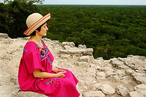 image 4-850-2874 Mexico, Yucatan, Coba, El Castillo, meditation