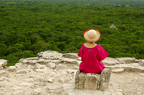 4-850-2881  stock photo of Mexico, Yucatan, Coba, El Castillo, meditation