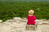 head covering stock photography | Mexico, Yucatan, Coba, El Castillo, meditation, image id 4-850-2881