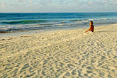 pensive stock photography | Mexico, Tulum, Meditation on the beach, image id 4-850-2913