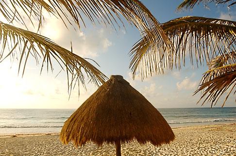 image 4-850-2956 Mexico, Riviera Maya, Tulum, Palapa on the beach