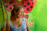 multicolour stock photography | Mexico, Playa del Carmen, Woman in cafe, image id 4-850-3217