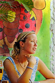multicolour stock photography | Mexico, Playa del Carmen, Woman in cafe, image id 4-850-3222