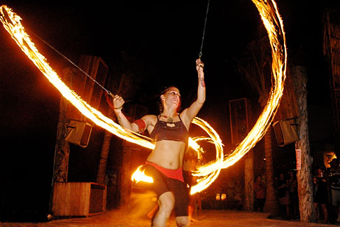 image 4-850-3575 Mexico, Playa del Carmen, Fire dancer