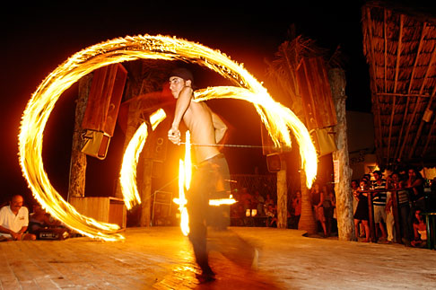 image 4-850-3582 Mexico, Playa del Carmen, Fire dancer