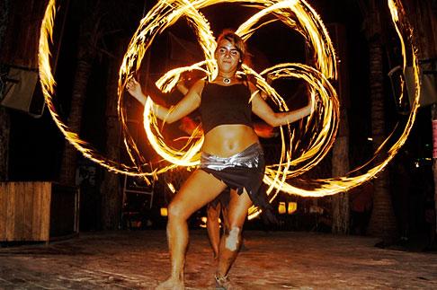 image 4-850-3619 Mexico, Playa del Carmen, Fire dancer