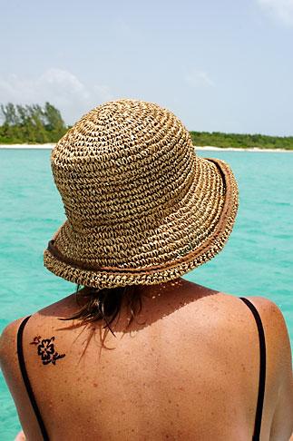 image 4-850-4958 Mexico, Riviera Maya, Playa Maroma, Woman on boat