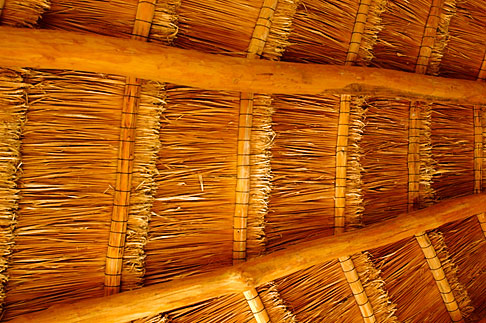 image 4-850-5377 Mexico, Riviera Maya, Thatched interior roof