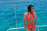 one young woman only stock photography | Mexico, Riviera Maya, Relaxing on a boat, image id 4-872-8