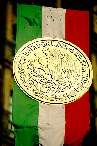 image 5-67-21 Mexico, Mexico City, Mexican Flag and seal, Zocalo