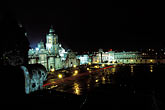 church stock photography | Mexico, Mexico City, National Cathedral and Z�calo at night, image id 5-8-10