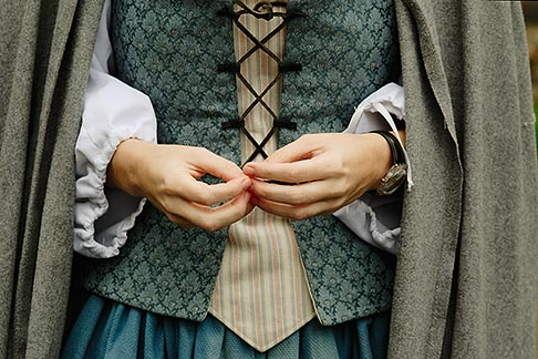 6-460-1540  stock photo of Canada, Montreal, Maison Saint Gabrielle, woman in period dress, hands