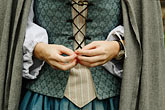 apparel stock photography | Canada, Montreal, Maison Saint Gabrielle, woman in period dress, hands, image id 6-460-1540