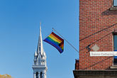 steeple stock photography | Canada, Montreal, The Village, Rainbow Flag and �glise Sainte-Brigide, image id 6-460-1916