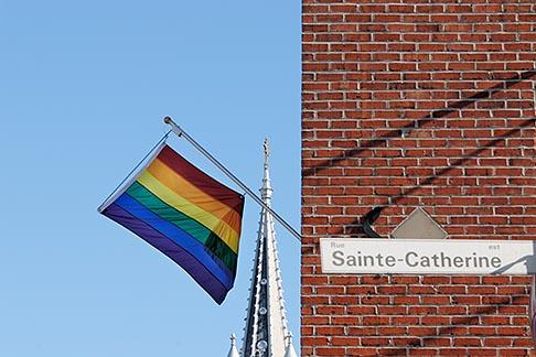 image 6-460-1928 Canada, Montreal, The Village, Rainbow Flag and �glise Sainte Brigide