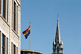 steeple stock photography | Canada, Montreal, The Village, Rainbow Flag and �glise Sainte-Brigide, image id 6-460-1943