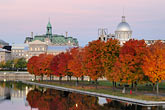 twilight stock photography | Canada, Montreal, Bonsecours Park and Hotel de Ville with fall foliage, image id 6-460-2169