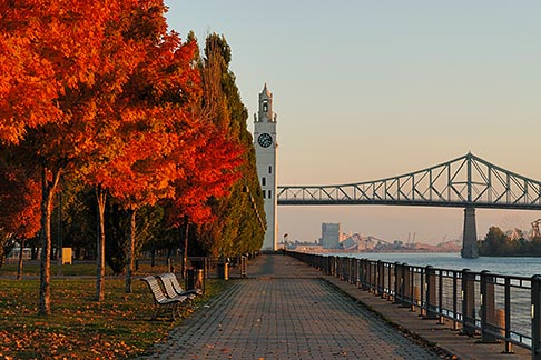 image 6-460-2173 Canada, Montreal, Quai de lHorloge with fall foliage