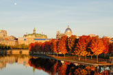 sun and moon stock photography | Canada, Montreal, Bonsecours Park and Hotel de Ville with fall foliage, image id 6-460-2178