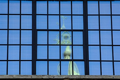 image 6-460-7398 Canada, Montreal, Reflection of church in office windows