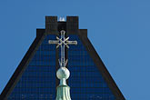 blue sky stock photography | Canada, Montreal, Basilica of Notre Dame, roof decoration, cross, image id 6-460-7554