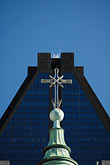 blue sky stock photography | Canada, Montreal, Basilica of Notre Dame, roof decoration, cross, image id 6-460-7555