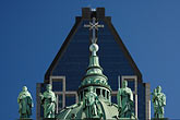 blue sky stock photography | Canada, Montreal, Basilica of Notre Dame, roof decoration, image id 6-460-7561