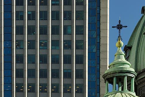 image 6-460-7580 Canada, Montreal, Basilica of Notre Dame and skyscraper