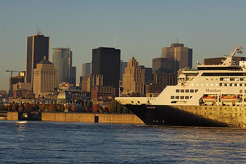 image 6-460-7658 Canada, Montreal, Cruise ship in St Lawrence River and Montreal skyline