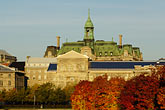 quiet stock photography | Canada, Montreal, Hotel de Ville with fall foliage, image id 6-460-7866