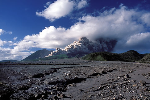 image 0-151-91 Montserrat, Volcano, Pyroclastic flow and ash cloud above Long Ground