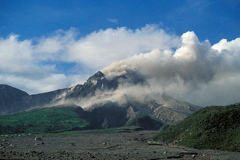 image 0-151-98 Montserrat, Volcano, Pyroclastic flow and ash cloud above Long Ground