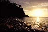 rock islands stock photography | Montserrat, Sunset, Woodlands Beach, image id 0-157-3
