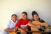 three girls stock photography | Niue, Young Sunday School teachers, Avatele church, image id 9-501-2