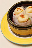 plate stock photography | Food, Dim Sum, Jumbo Scallop Dumplings (Tai Zi Gow), image id 4-730-13