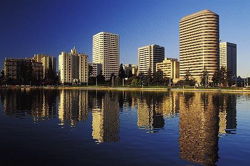 image 5-100-29 California, Oakland, Downtown skyline from Lake Merritt