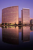 reflection stock photography | California, Oakland, Downtown skyline at dawn from Lake Merritt, image id 5-102-19