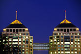 downtown skyline at night stock photography | California, Oakland, Federal Building at dusk, image id 5-106-32