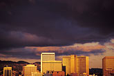 storm clouds stock photography | California, Oakland , City skyline at sunset, image id 9-444-23