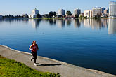 downtown stock photography | California, Oakland, Jogger, Lake Merritt, image id S5-60-3459